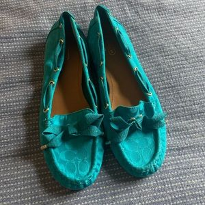 Coach turquoise loafers flats size 10